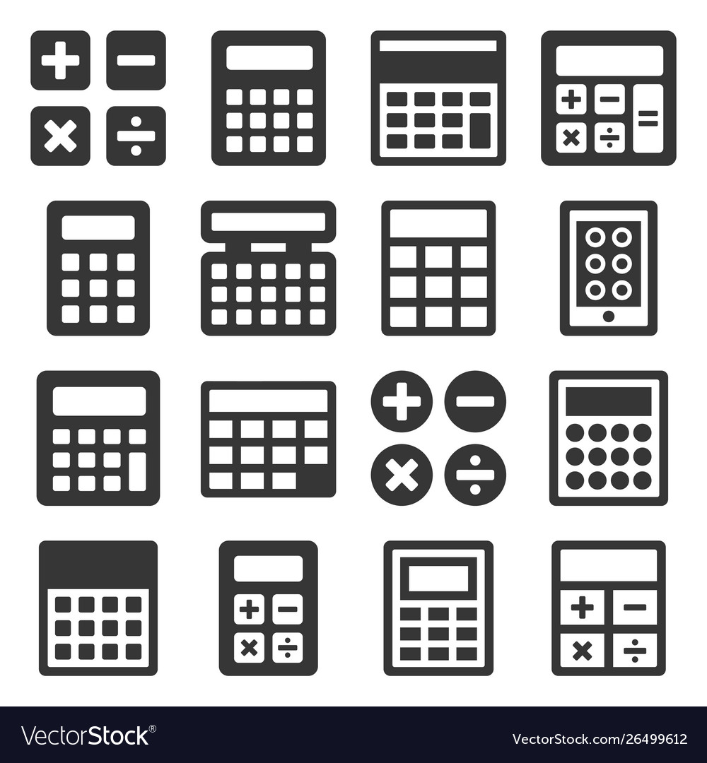 Calculator icons set on white background vector