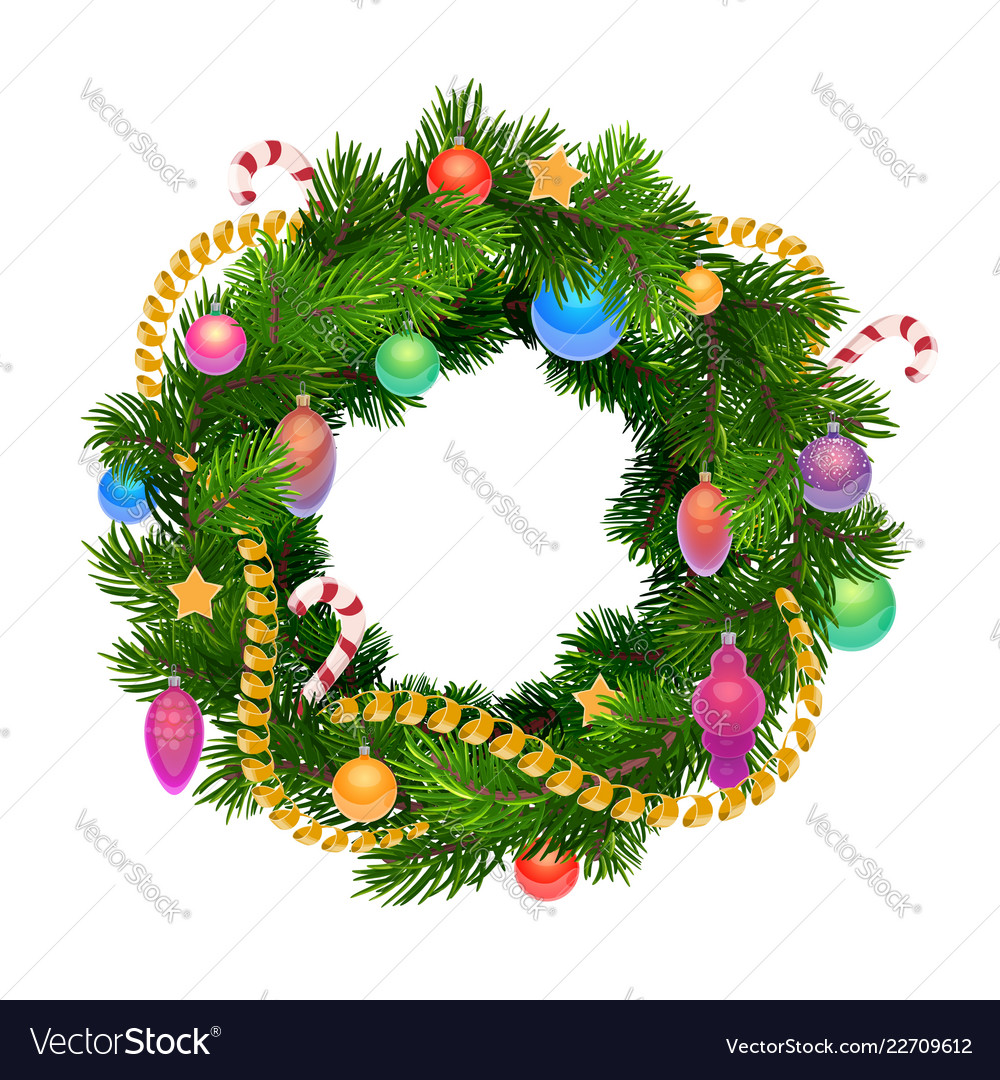 Christmas holiday wreath with balls and decoration