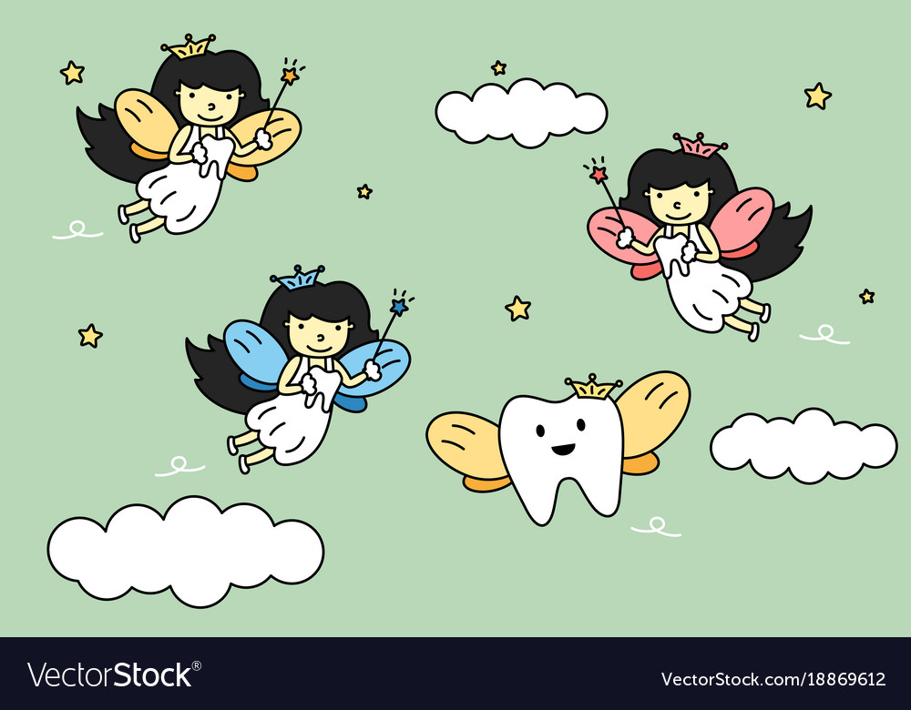 Cute colorful tooth fairy flying with teeth