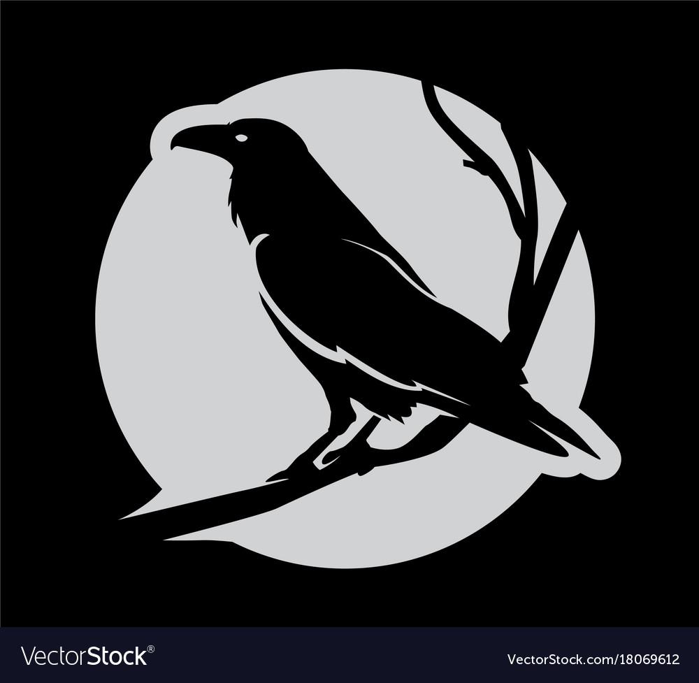 Dark evil heraldic raven