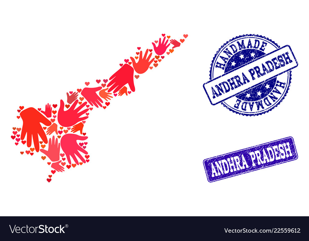 Handmade collage of map of andhra pradesh state Vector Image