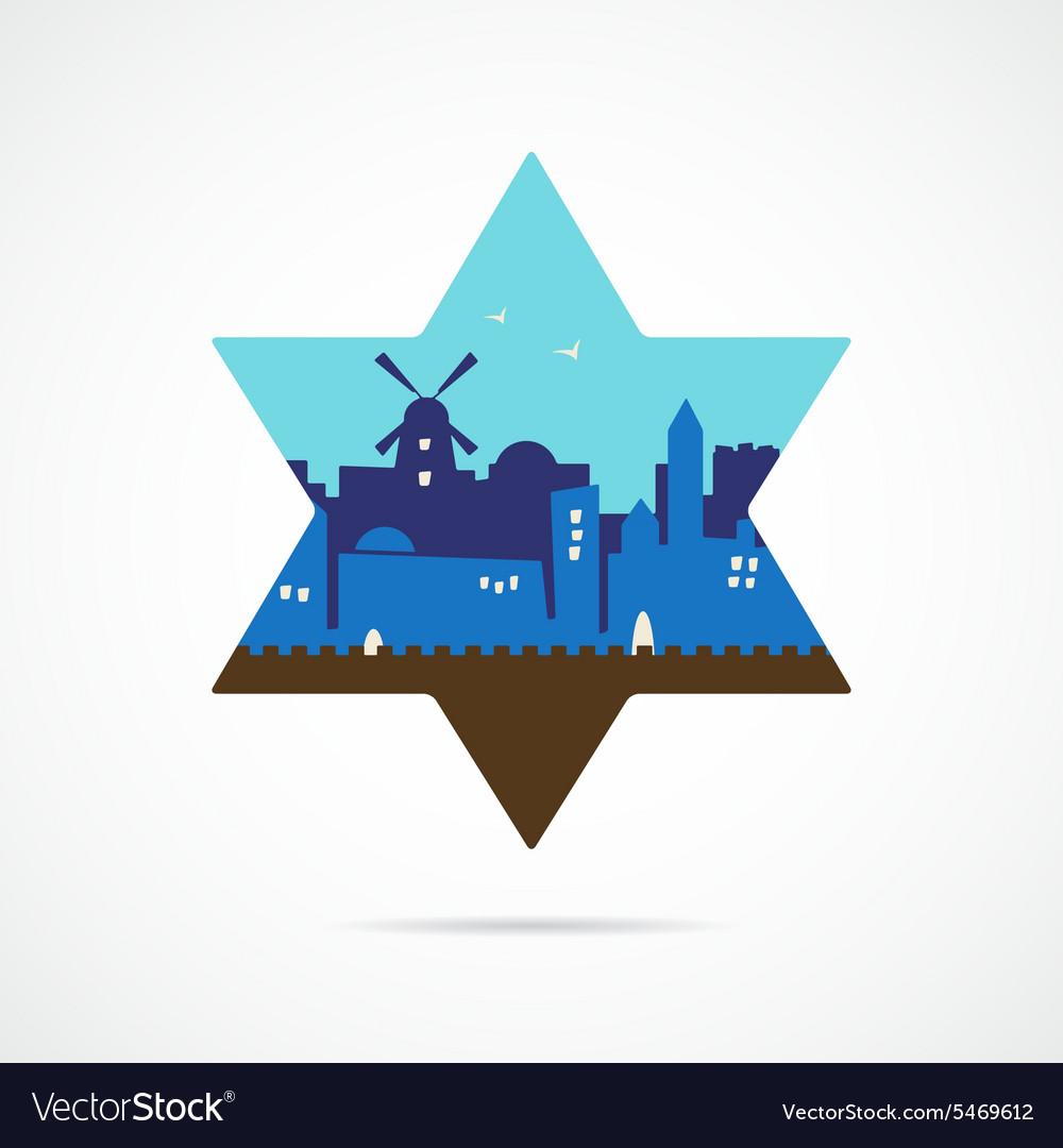Jerusalem Israel skyline silhouette flat design