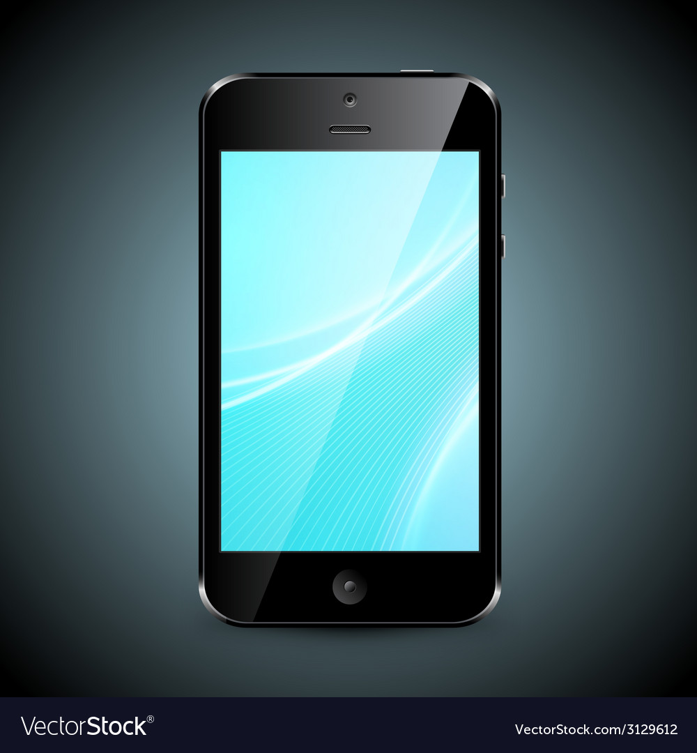 Mobile Phone With Wallpaper Isolated On Dark