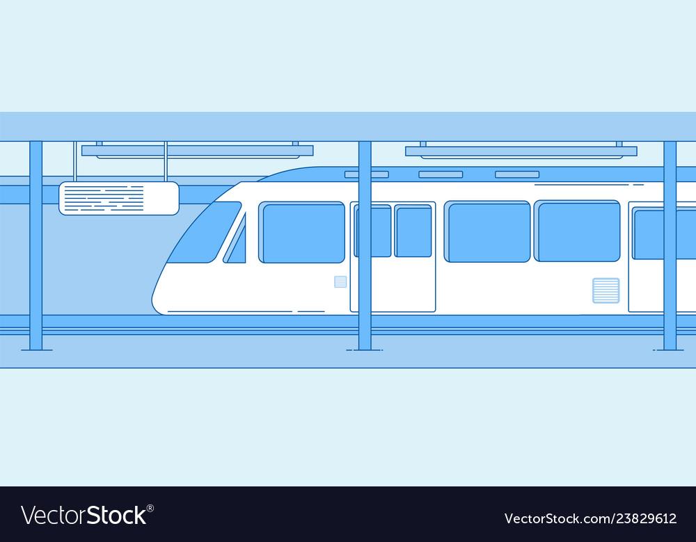 Subway train underground empty station with metro