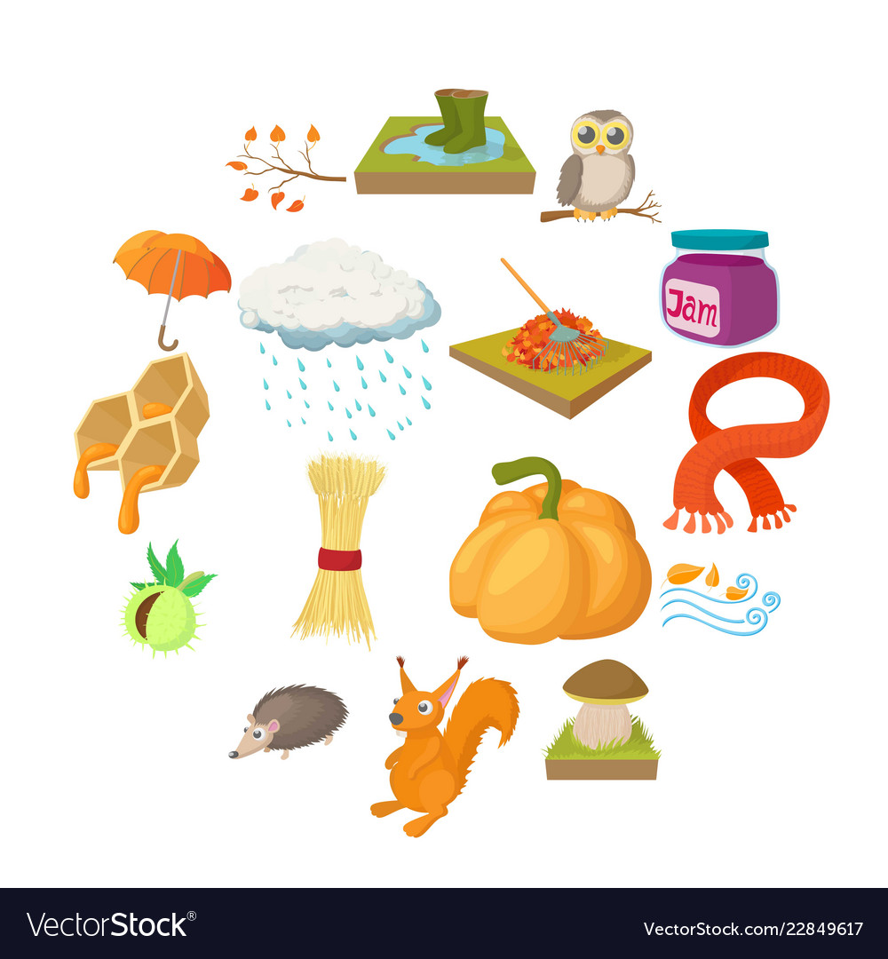 Autumn icons set cartoon style
