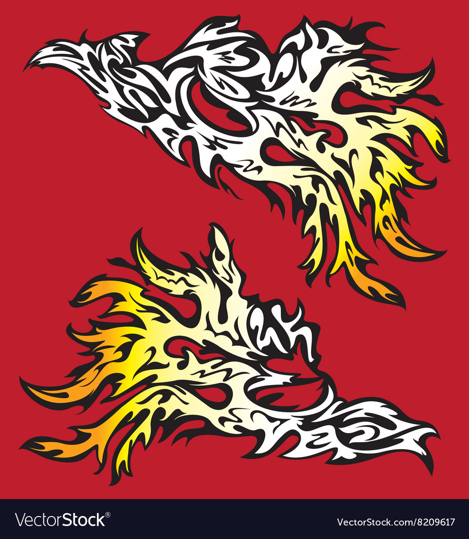 Burning fire flames silhouette design