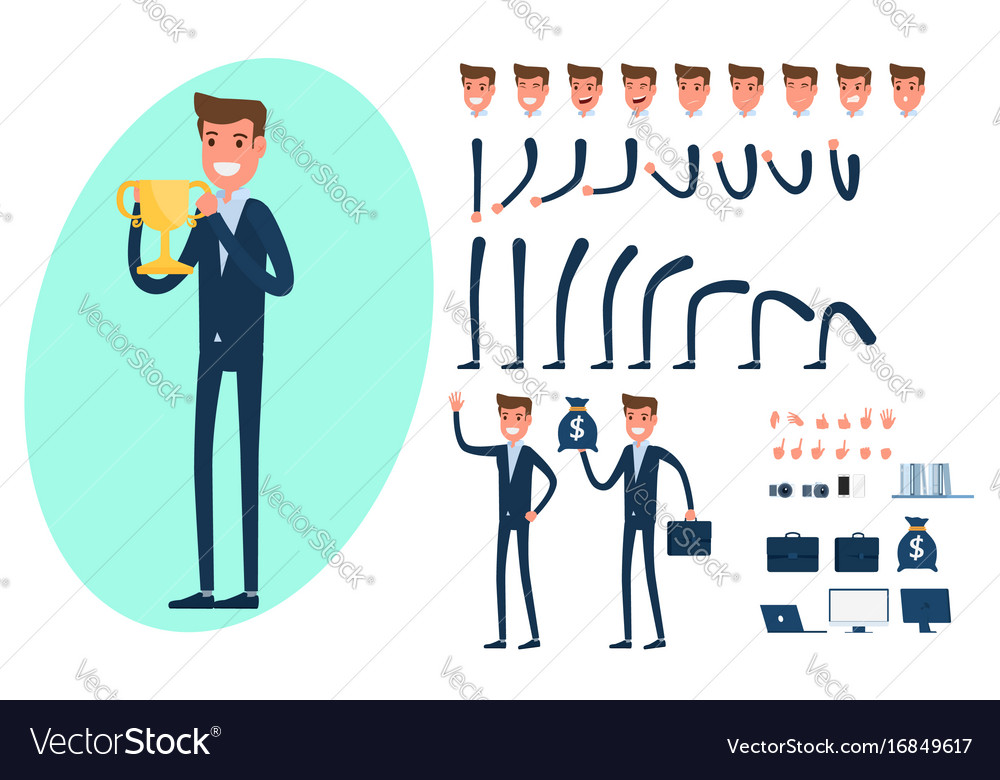 Businessman character creation set for animation