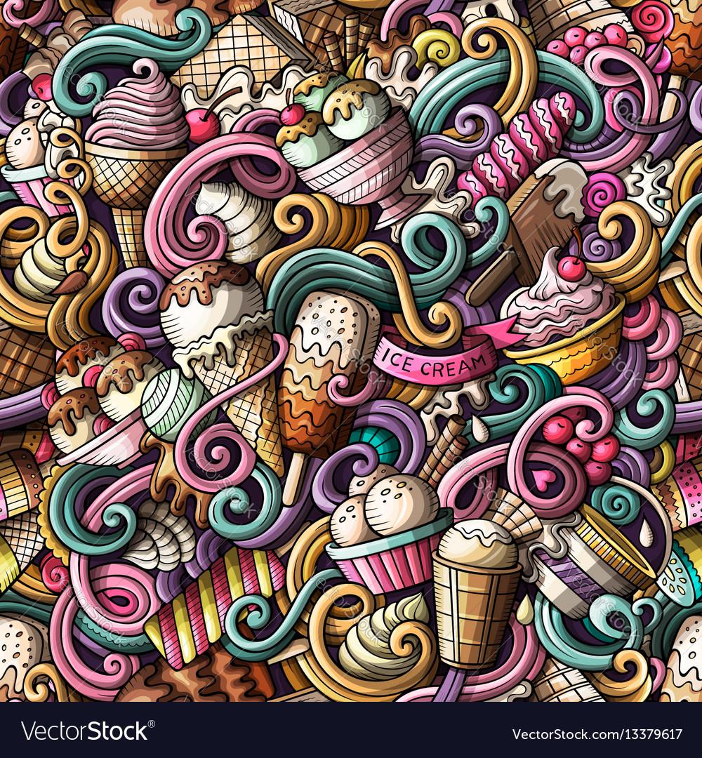 Cartoon hand-drawn ice cream doodles seamless
