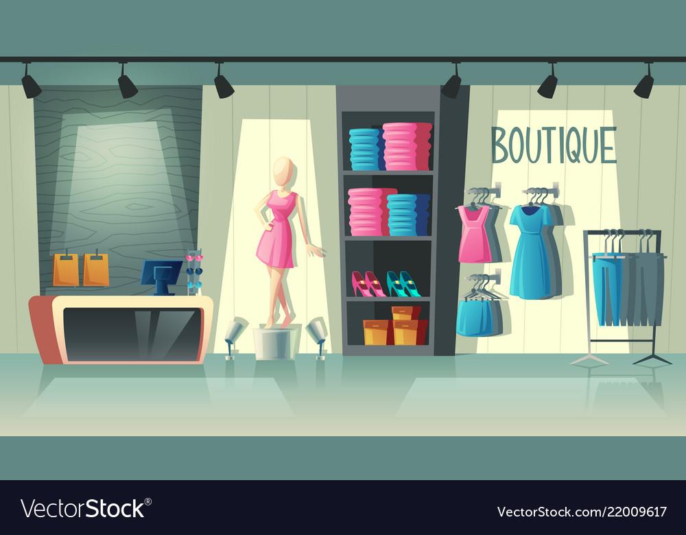 Clothing Shop Interior Fashion Boutique Royalty Free Vector