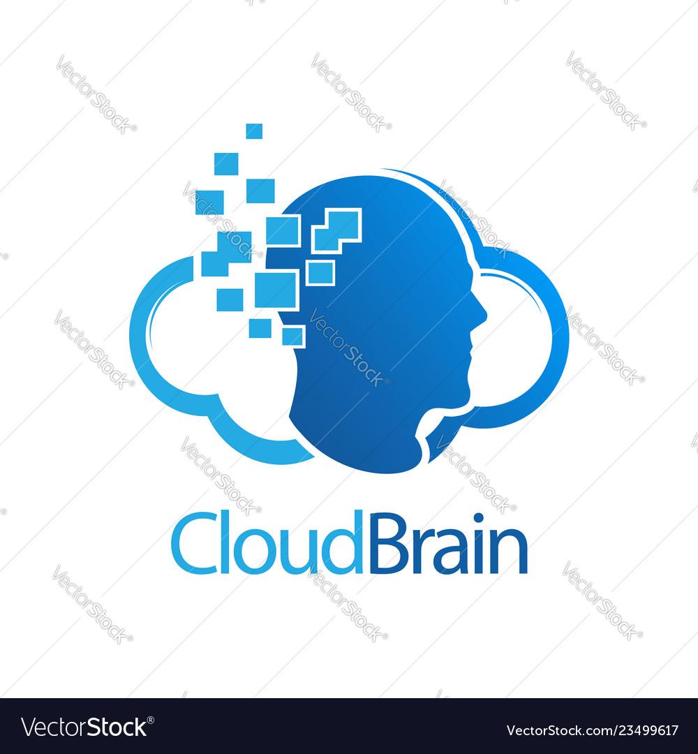 Cloud brain digital human logo concept design