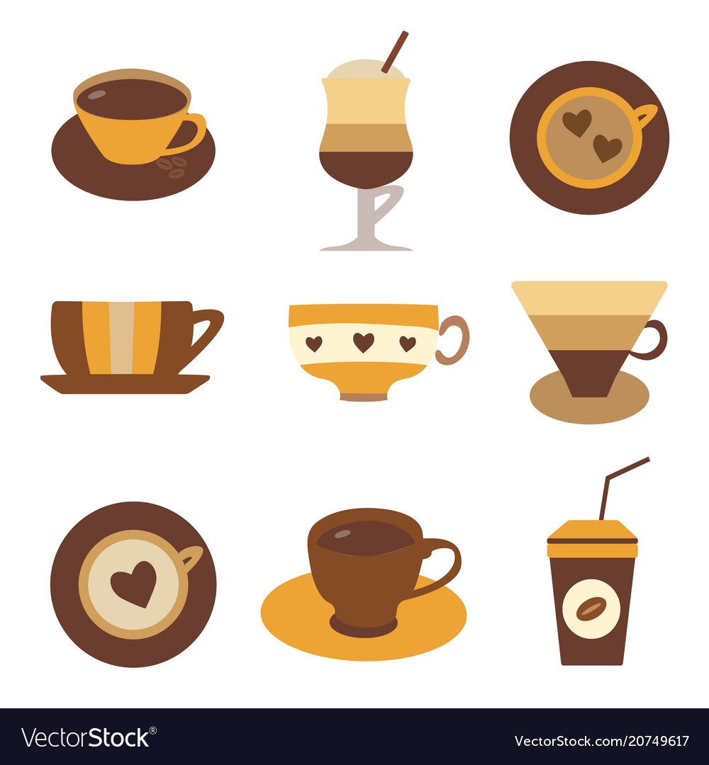 Coffee tea or hot chocolate in cups