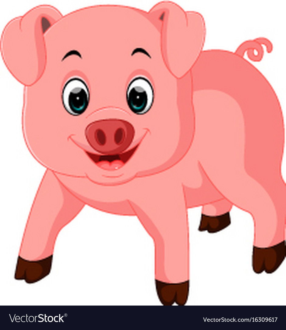 cute pig cartoon royalty free vector image vectorstock