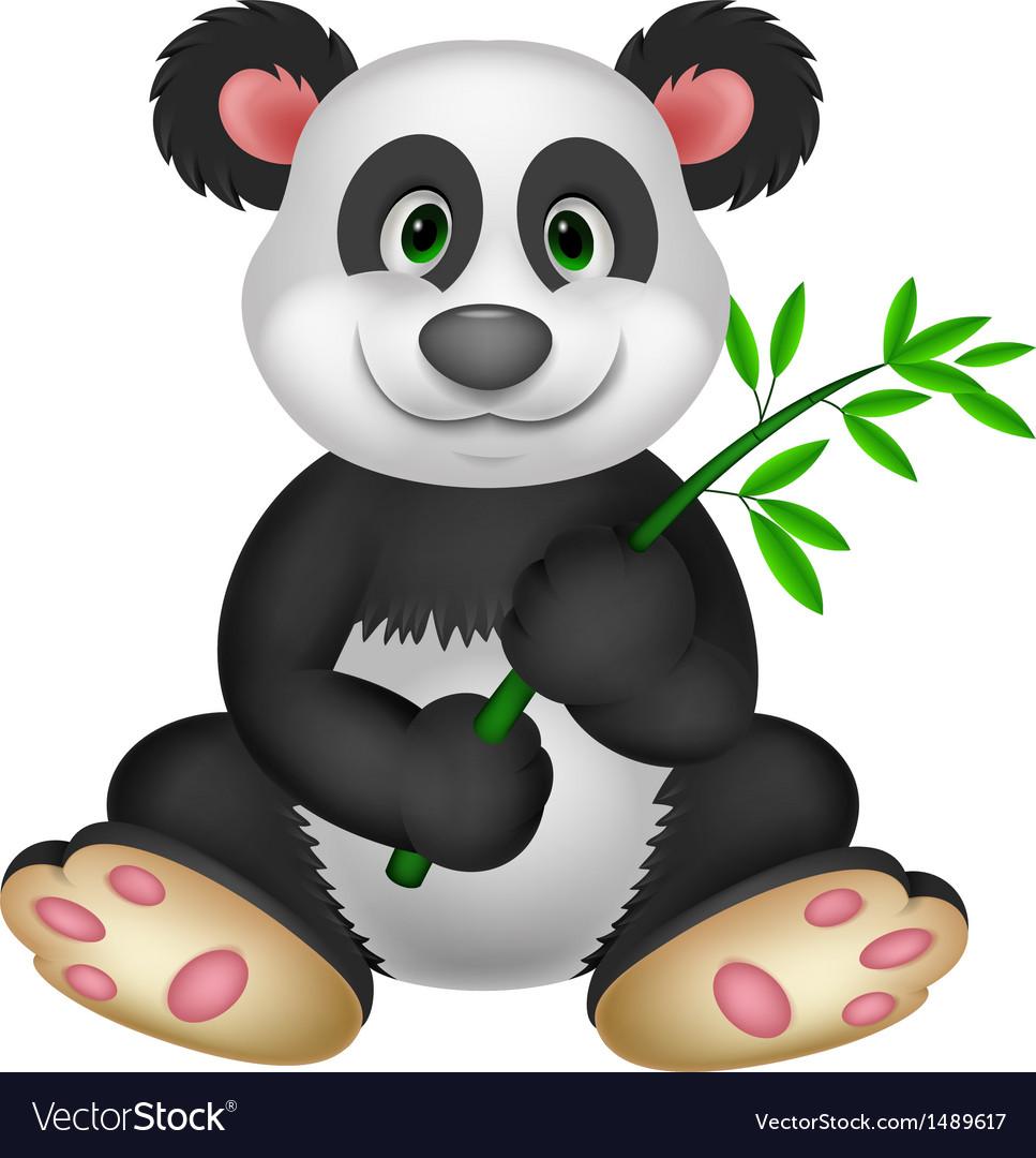 Giant Panda cartoon eating bamboo vector image