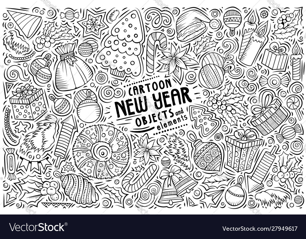 Hand drawn doodle cartoon set new year