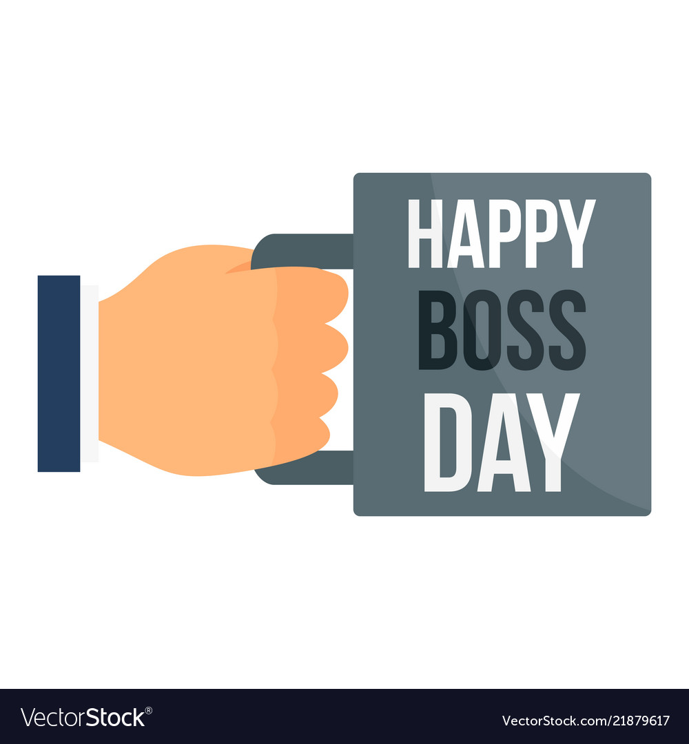 Happy boss day cup icon flat style