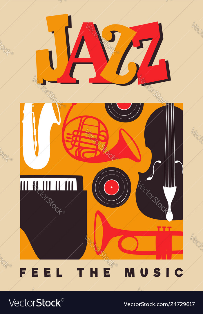 Jazz day poster of vintage music instruments