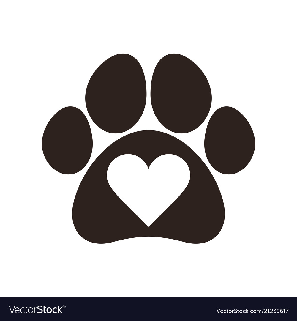 Paw print with heart Royalty Free Vector Image