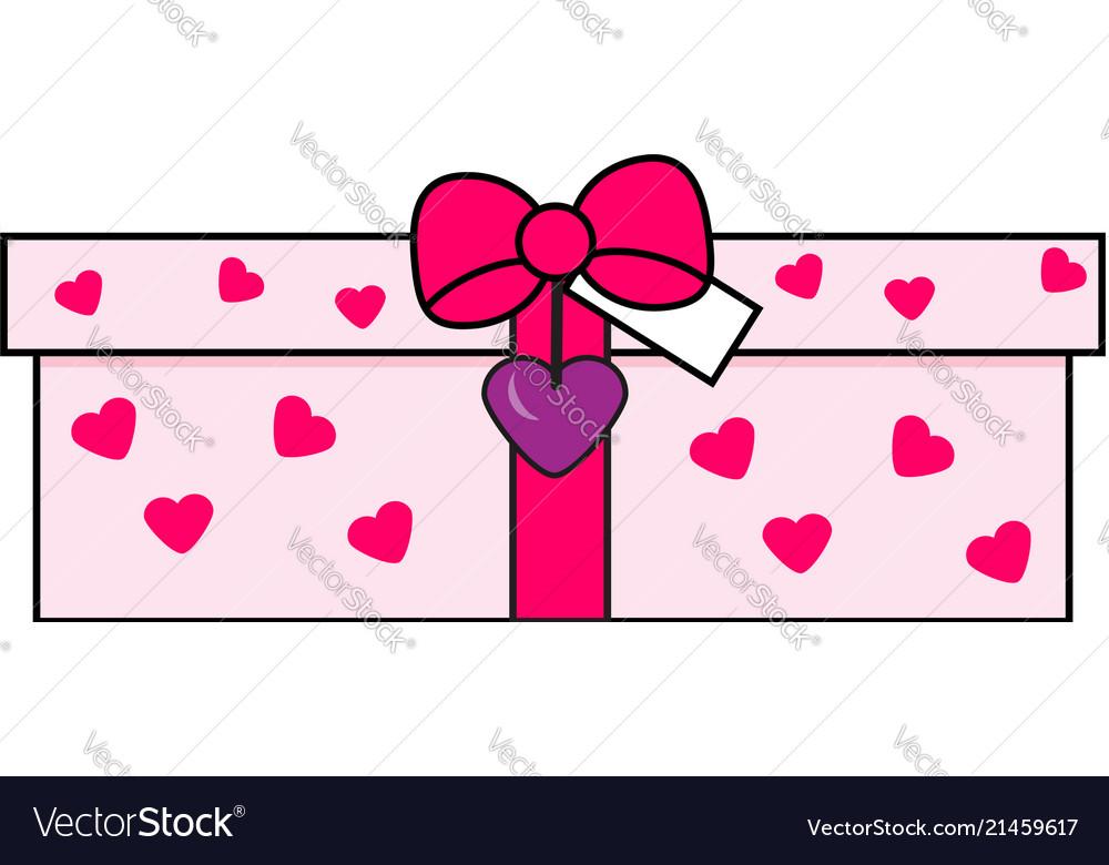 Romantic gift box love present icon