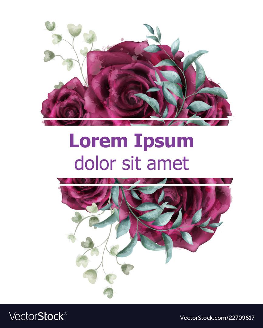 Rose flowers watercolor banner template