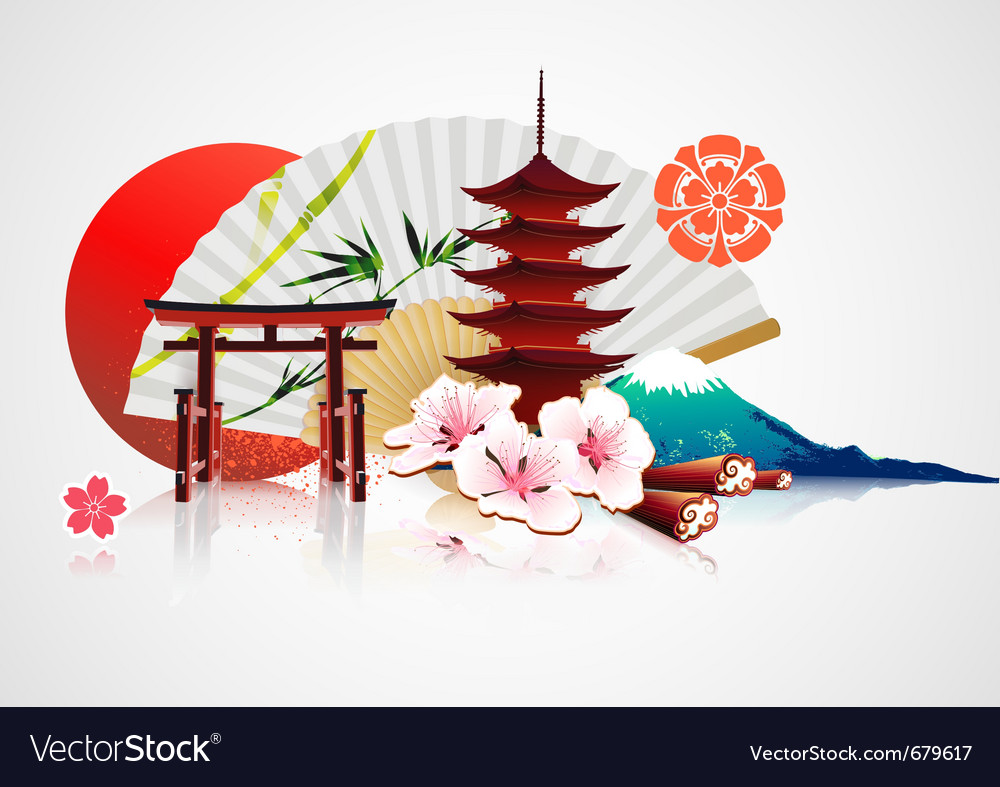 Traditional japanese background vector image