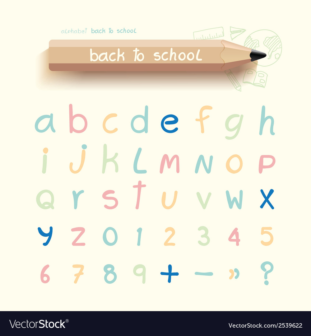 Alphabet sketched style back to school