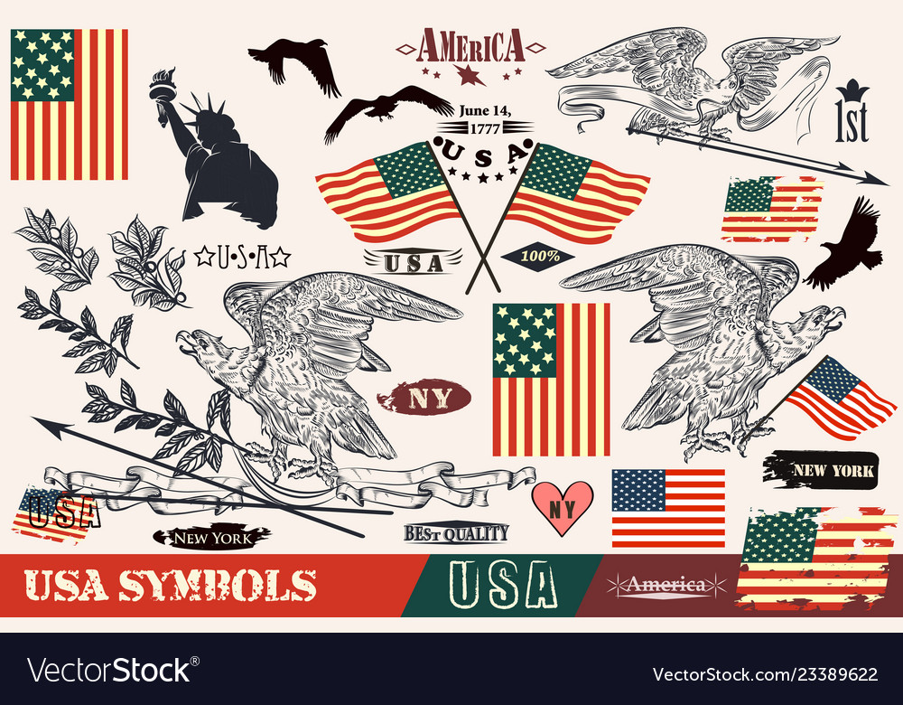 Hand drawn usa symbols in vintage style eagles
