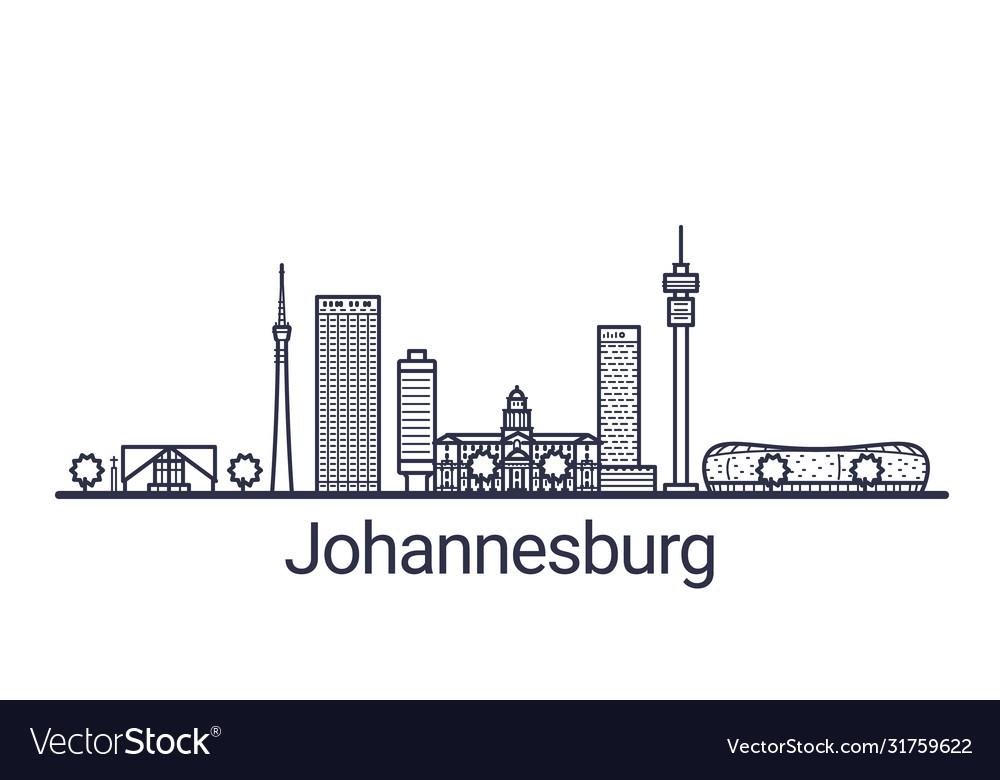 Johannesburg skyline banner linear style line art