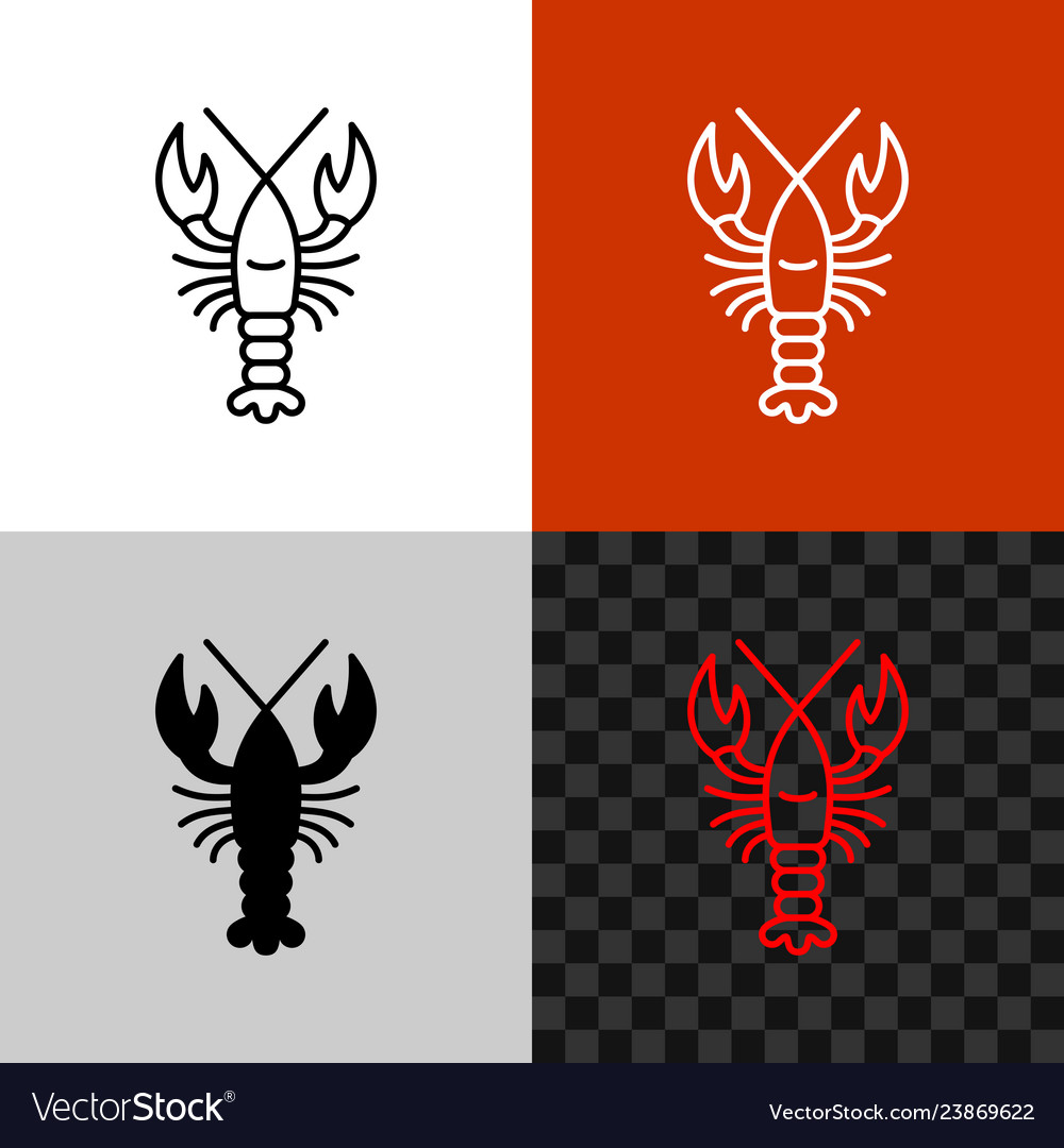 Lobster icon simple line lobster or crayfish