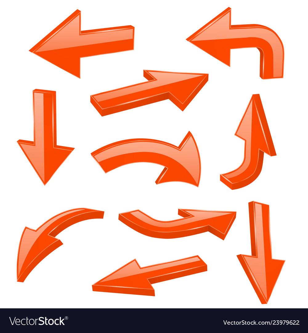 Orange bold arrows 3d shiny signs