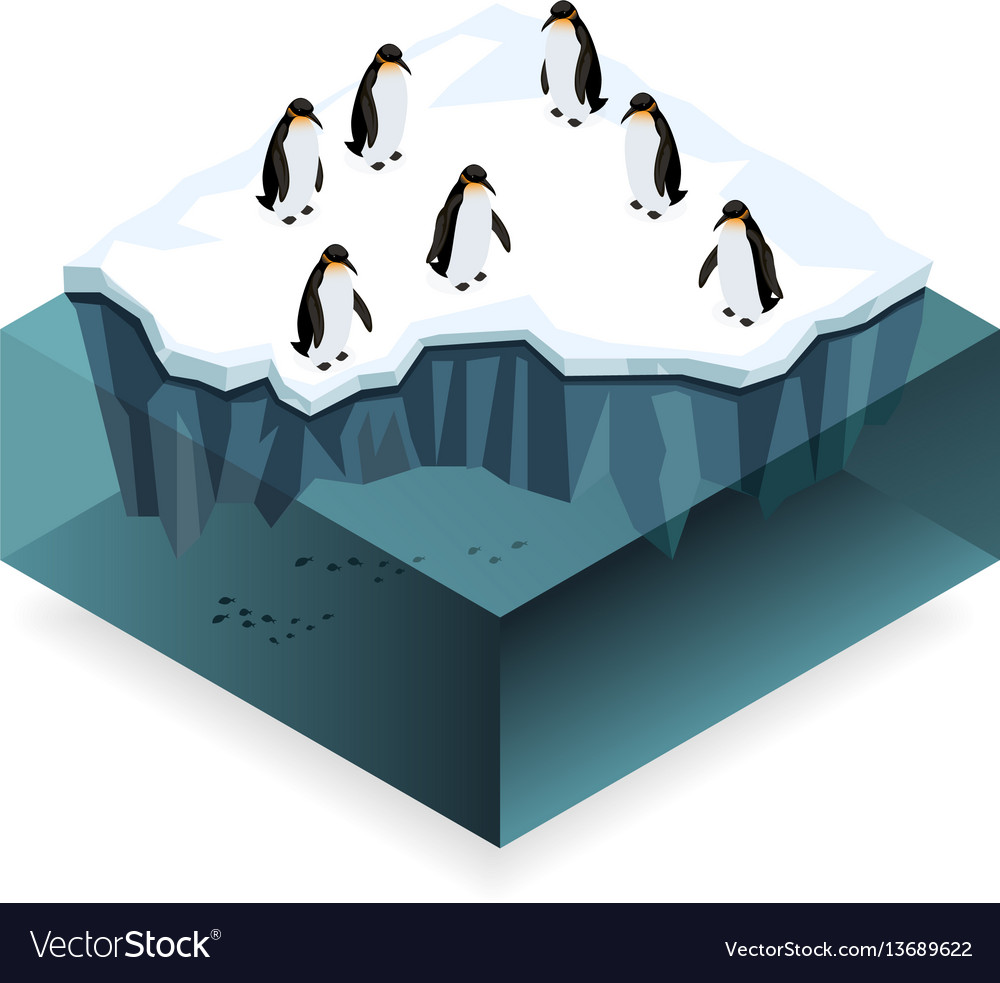 Penguins on ice in the open sea isometric concept