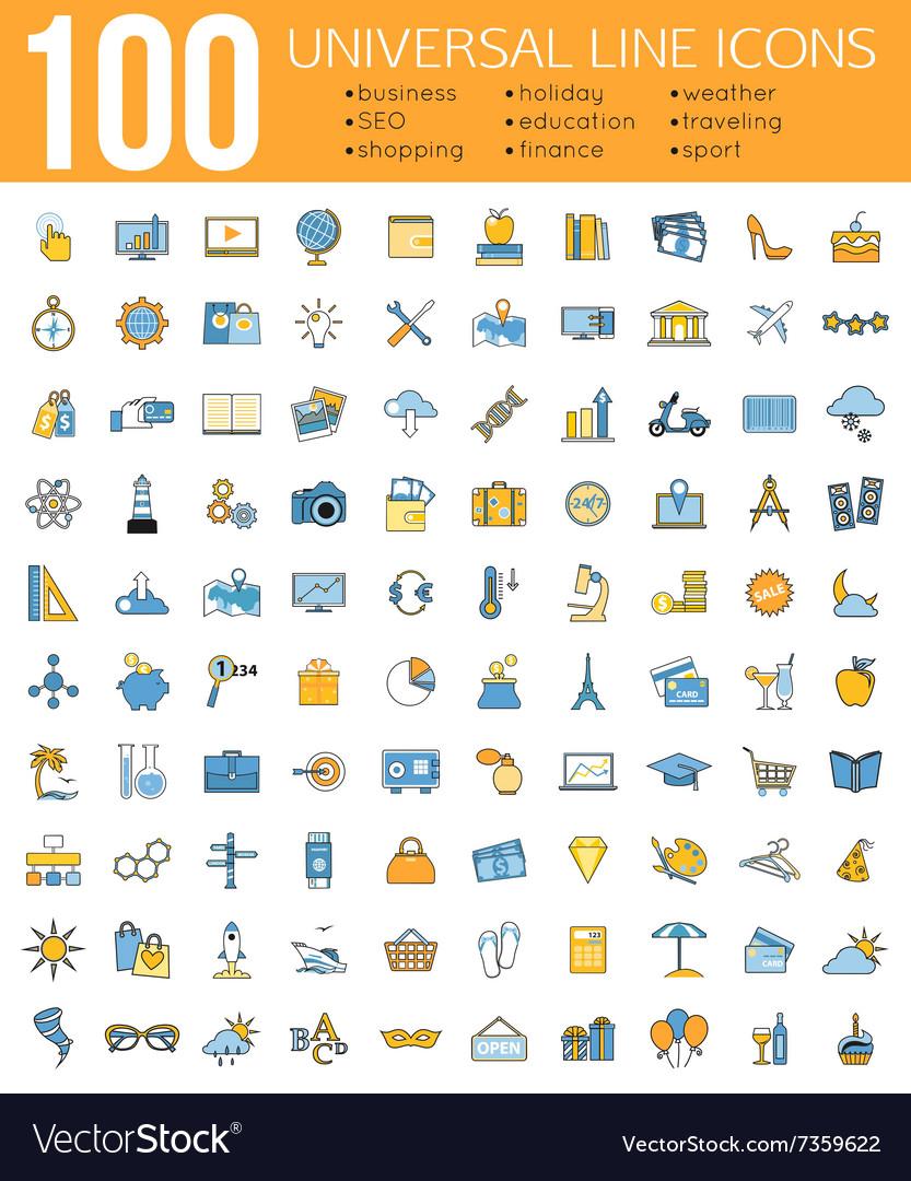 Set 100 minimal universal line icons business