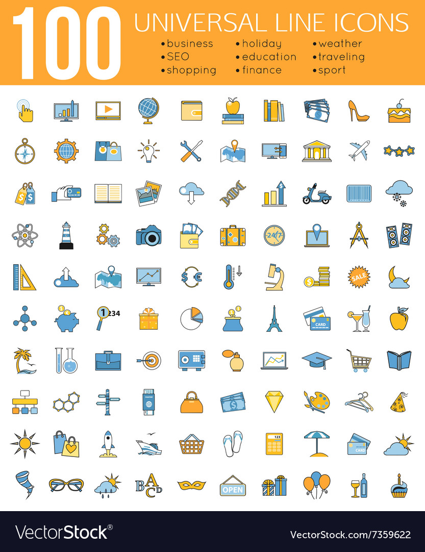 Set of 100 Minimal Universal Line Icons Business