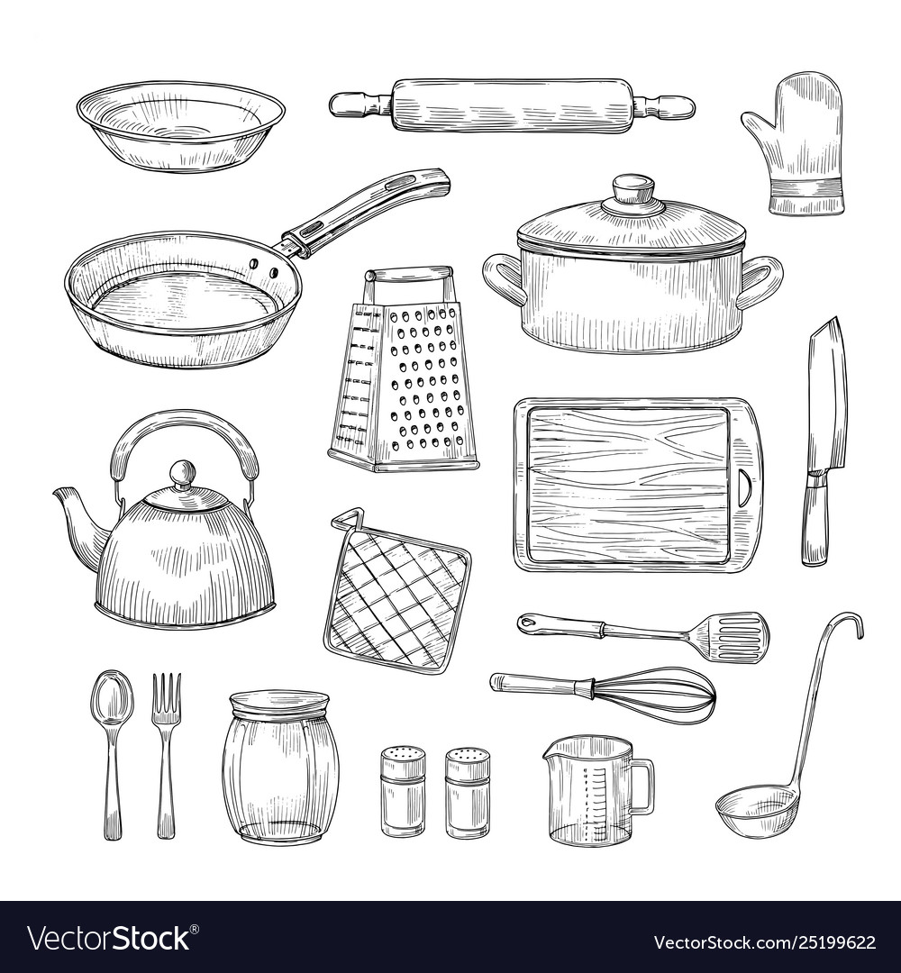 Sketch kitchen tools cooking utensils hand drawn