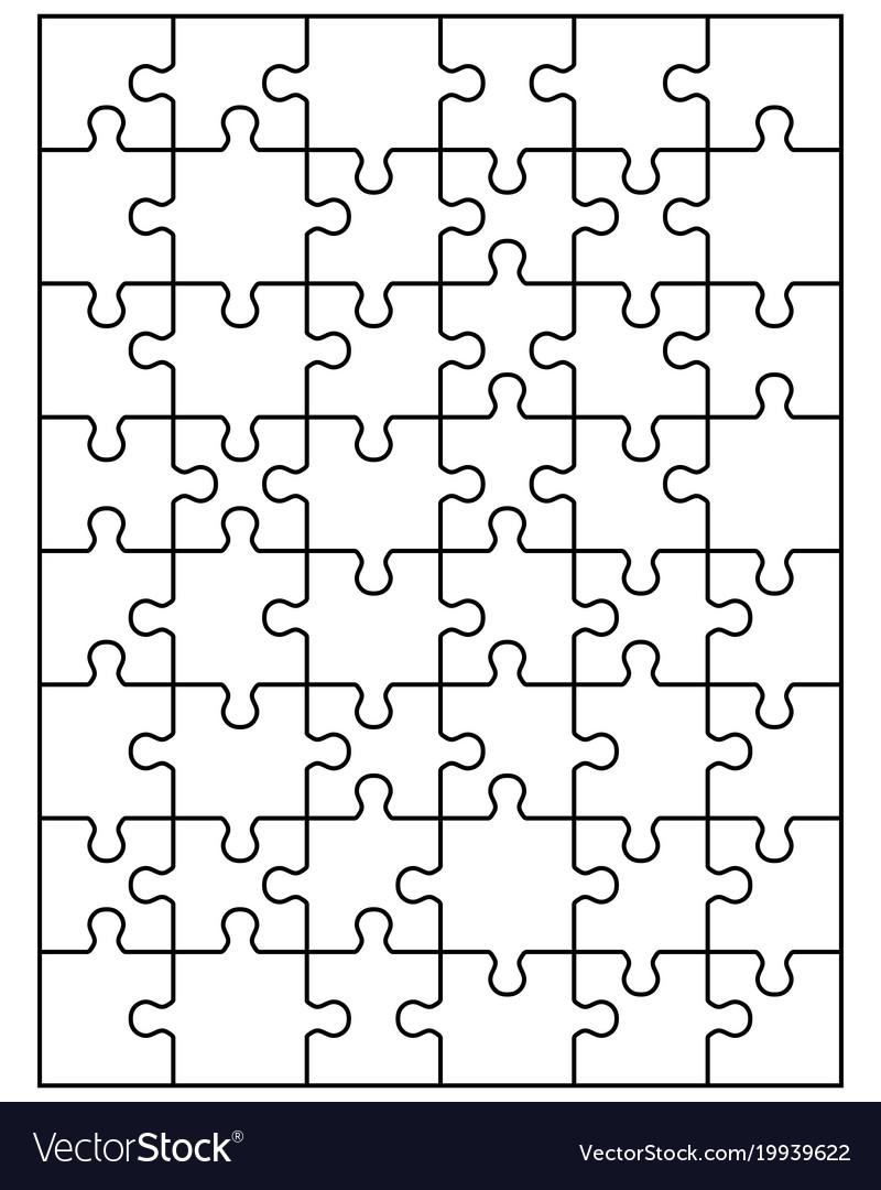 White Jigsaw Puzzle Vector Image