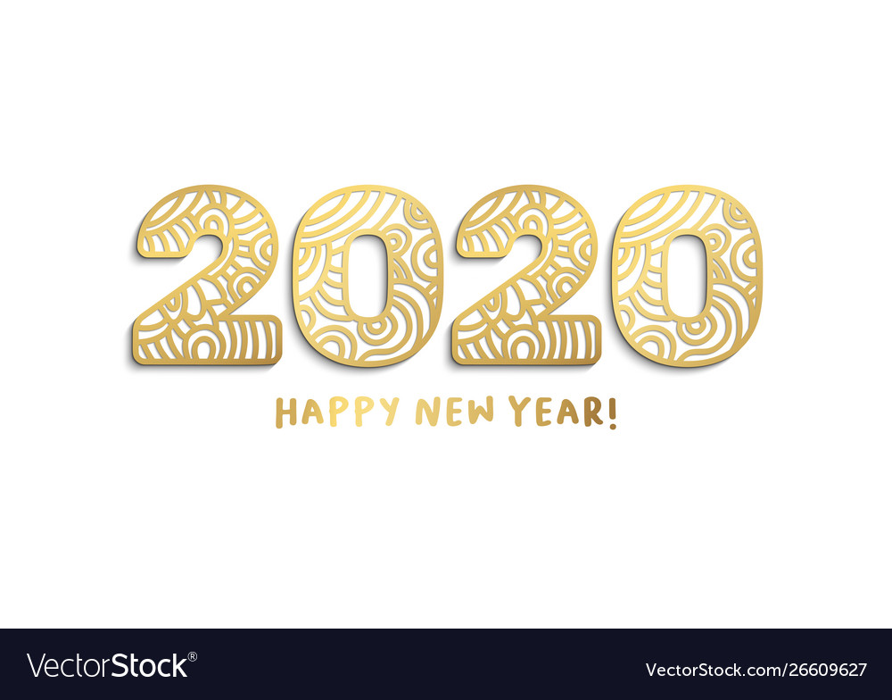 Happy New Year Clipart 2020.2020 Happy New Year Golden Laser Cut Lettering