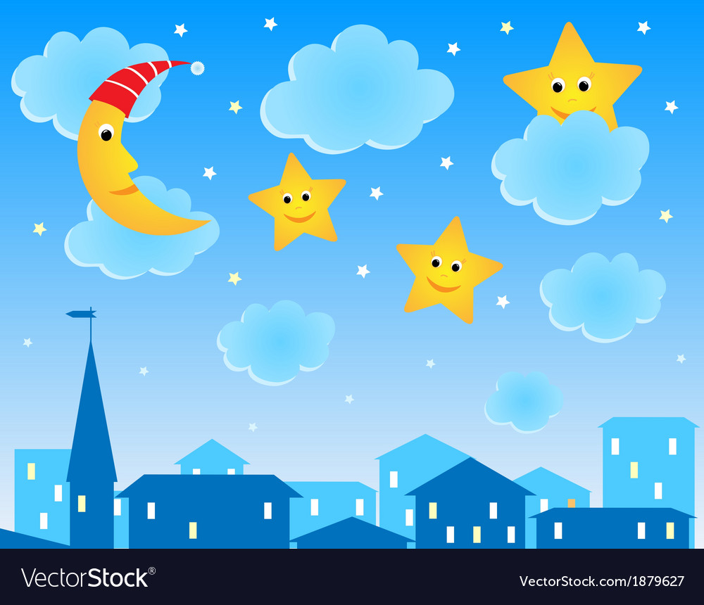 Cute of night roofs funny moon and stars