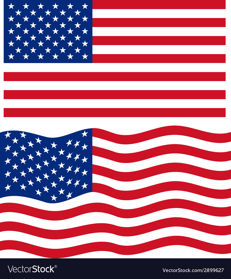 flat and waving american flag royalty free vector image rh vectorstock com usa flag vector us flag vector image