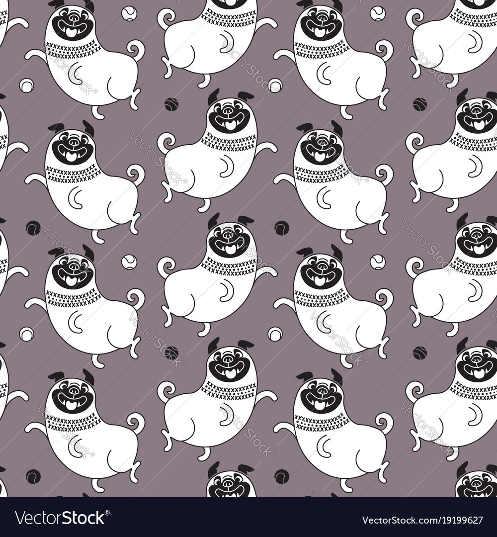 Funny pugs seamless pattern background
