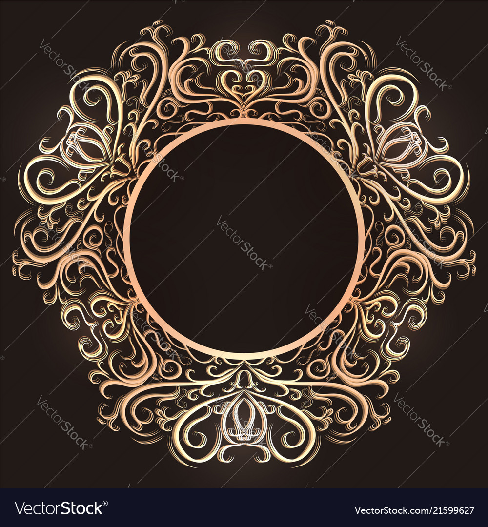 Gold vintage round frame with tracery the object