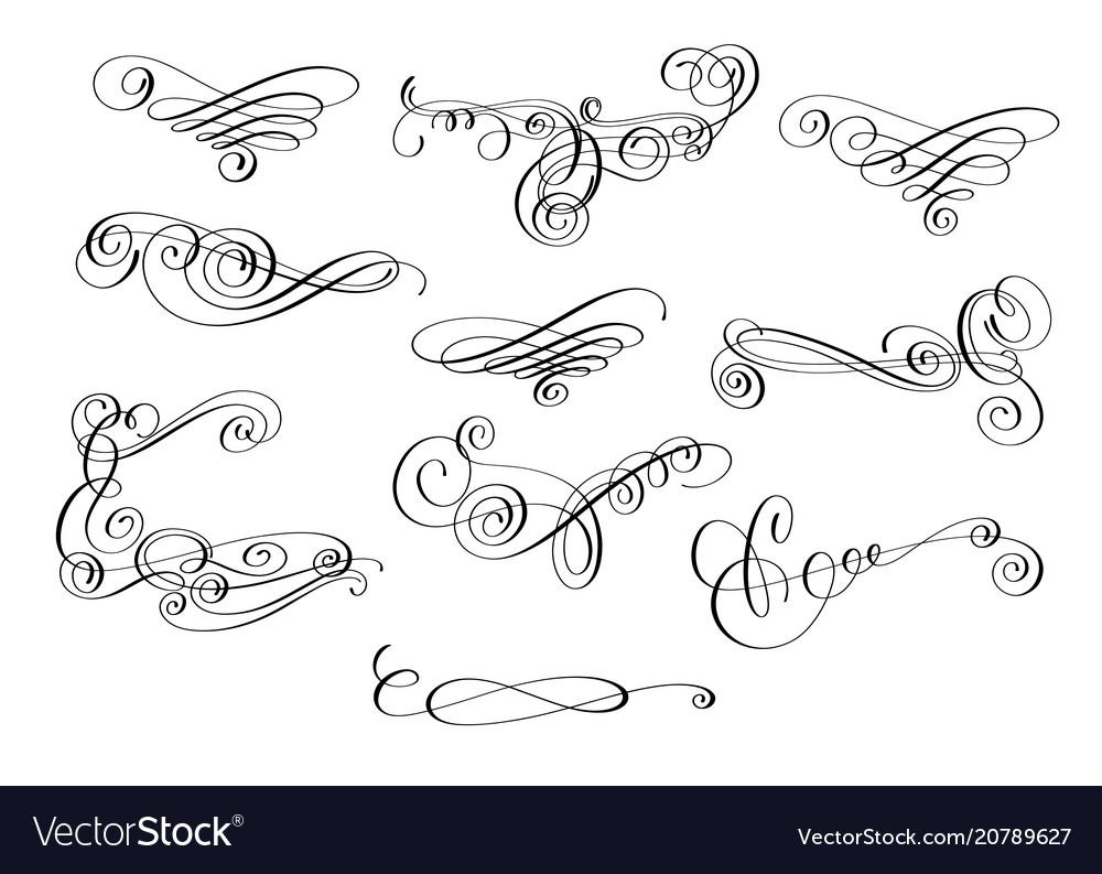 Hand written calligraphic design set of swirl