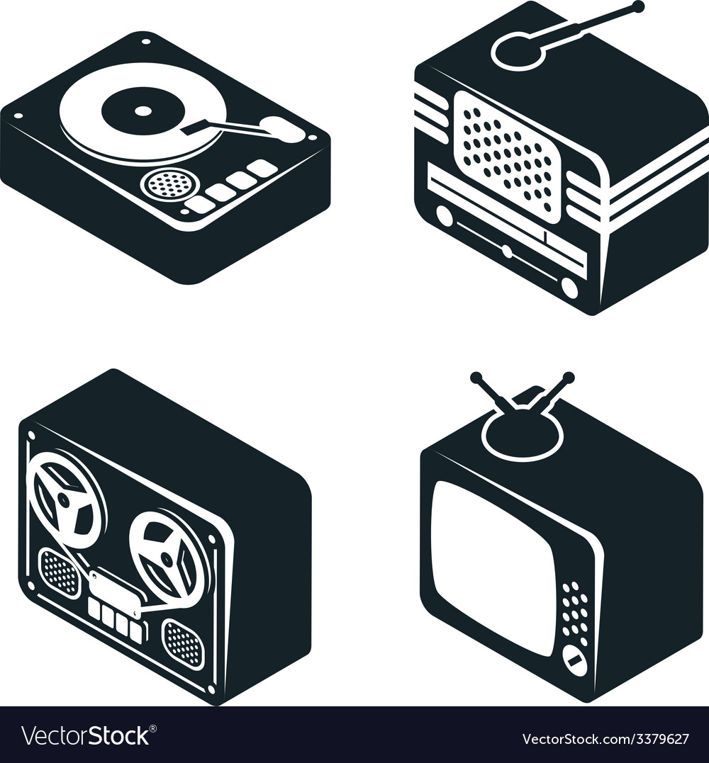 Isometric 3D Icons of Retro Media Devices vector image