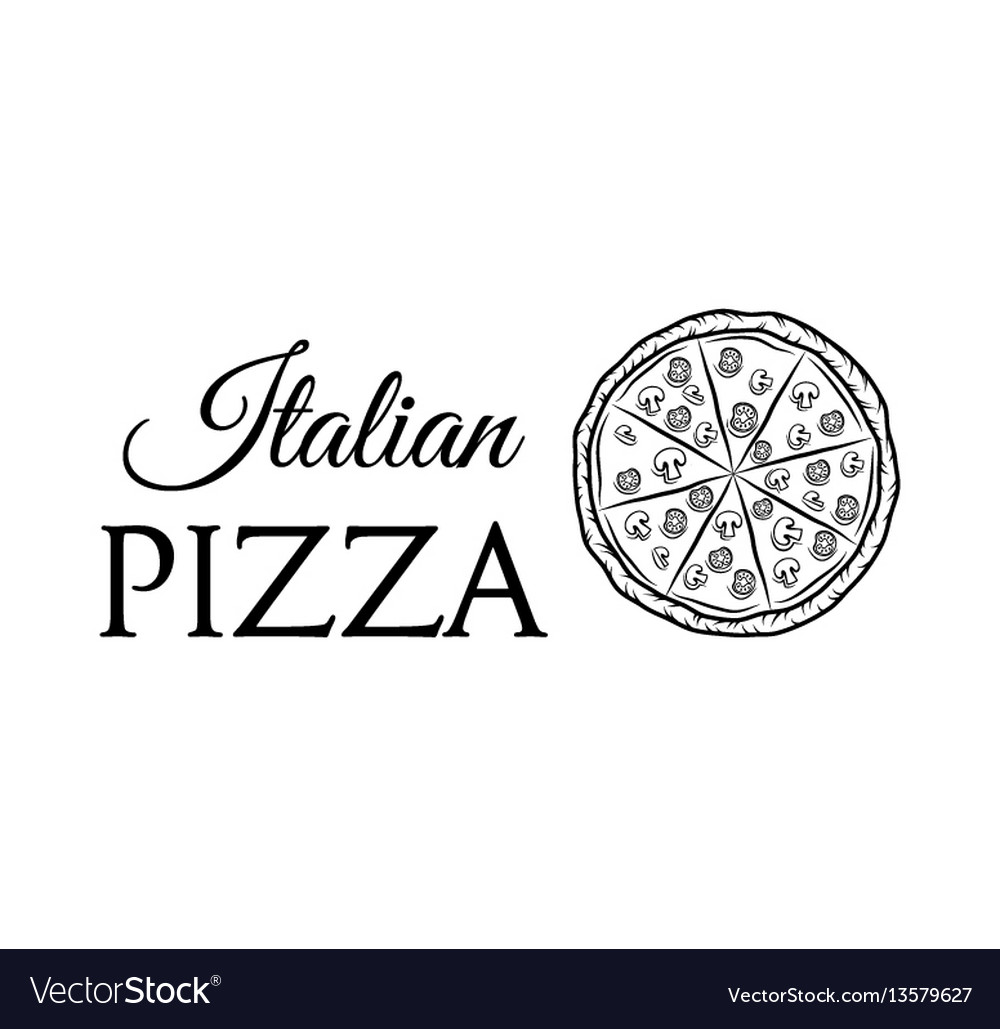 Italian pizza label badge pizzeria design elements