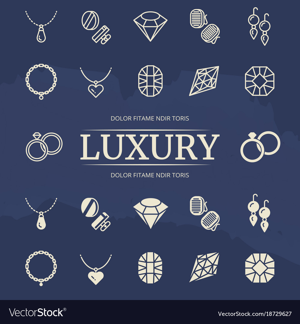 Jewelry and diamonds line and silhouette icons set