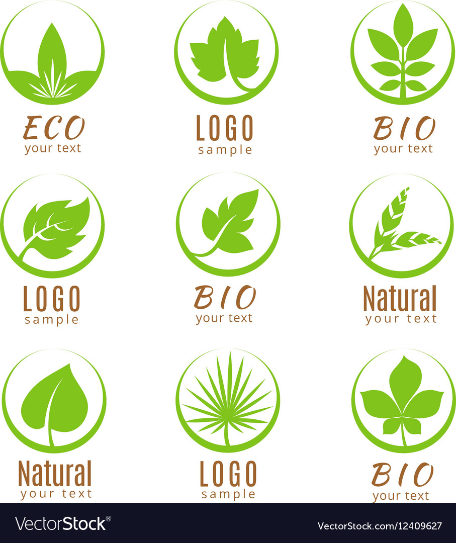 Nature logo set or ecology labels with green vector image