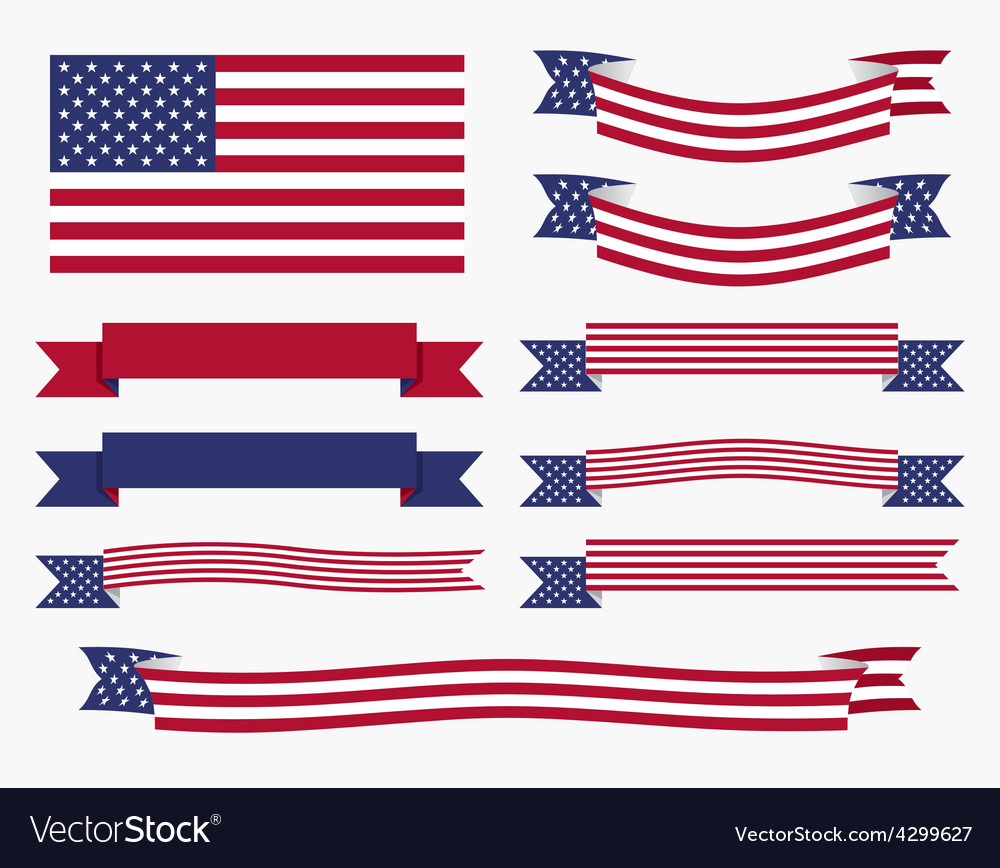 red white blue american flag ribbon and banner vector image rh vectorstock com us flag vector art free us flag vector art