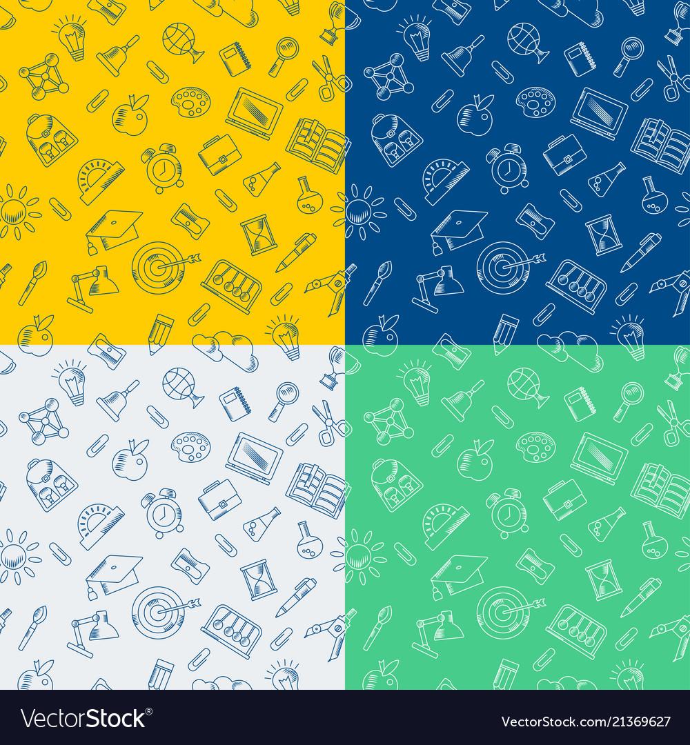 School supplies handdrawn seamless pattern