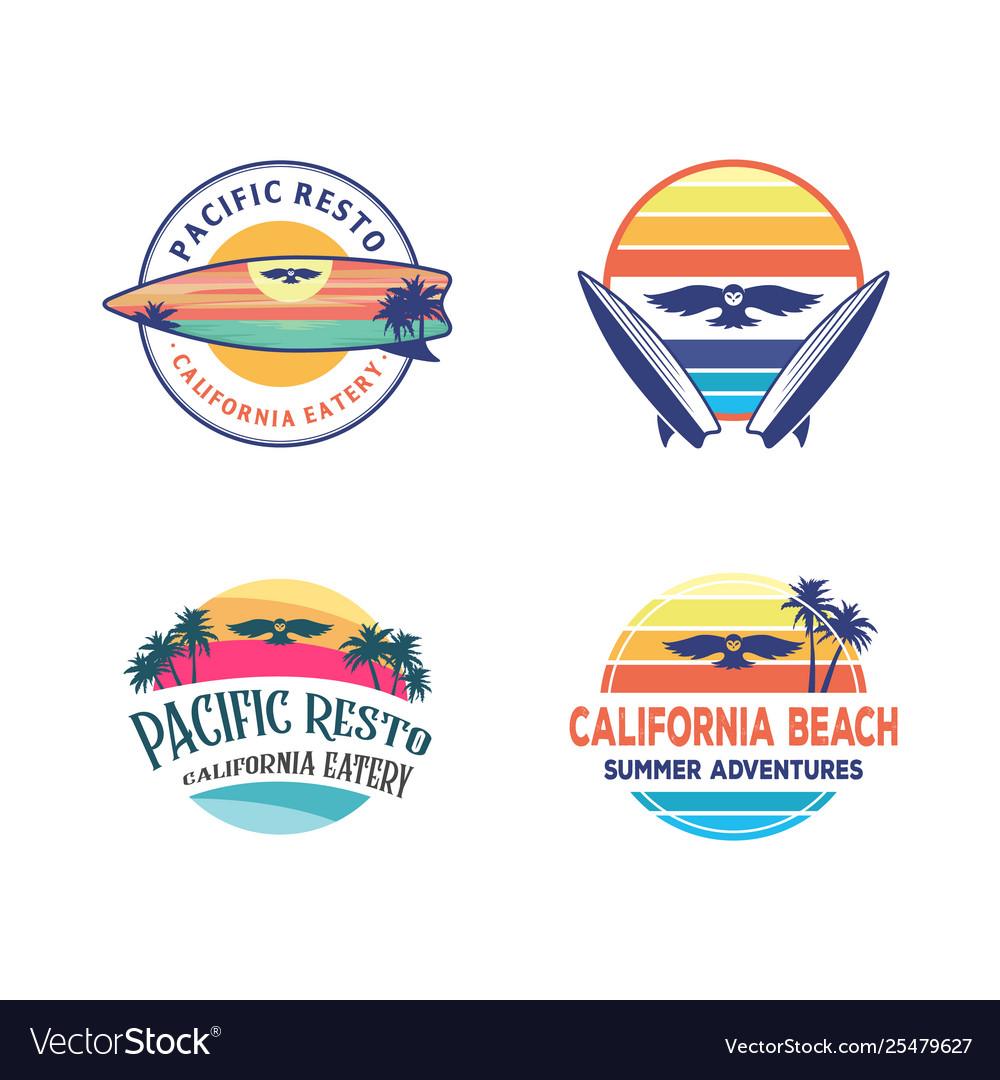 Set logo designs owl surfing logo design