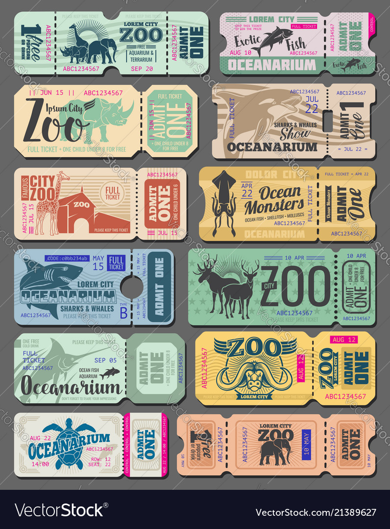 Vintage tickets of zoo animals and fish