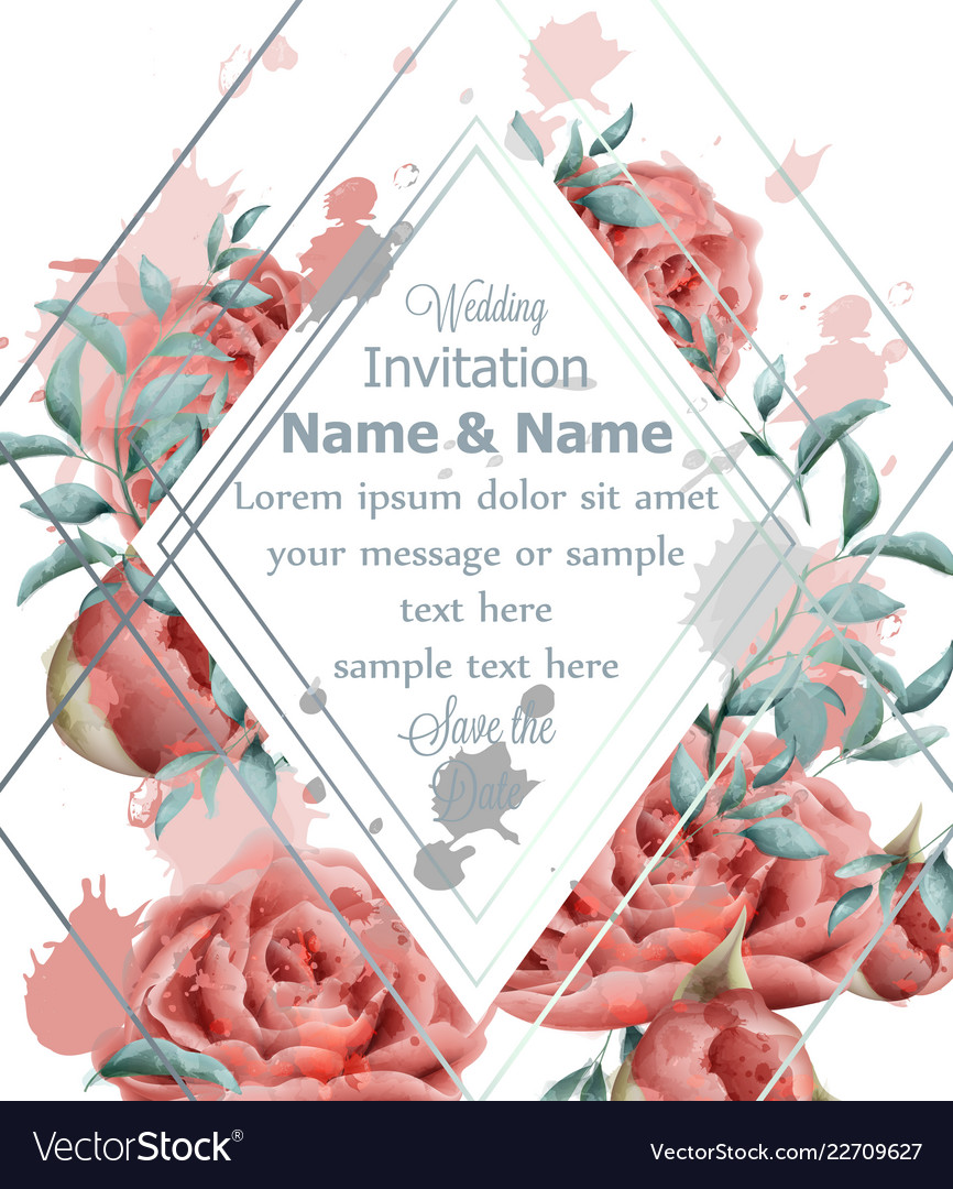 Wedding invitation card with roses flowers