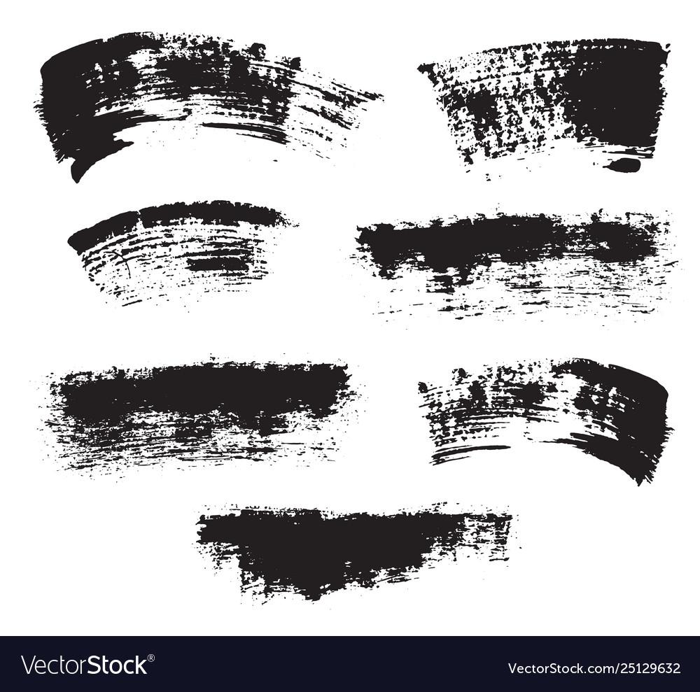 Brush strokes set hand drawn grunge texture